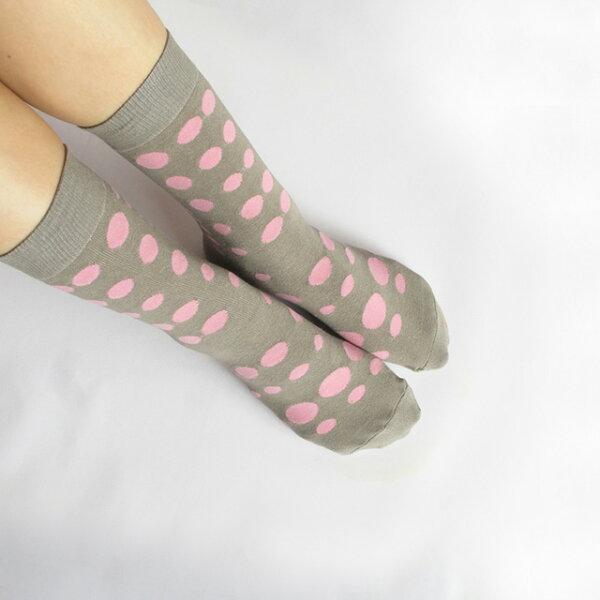 我愛草間彌生 點點禮物棉襪/灰狗灰 MIT社頭襪子