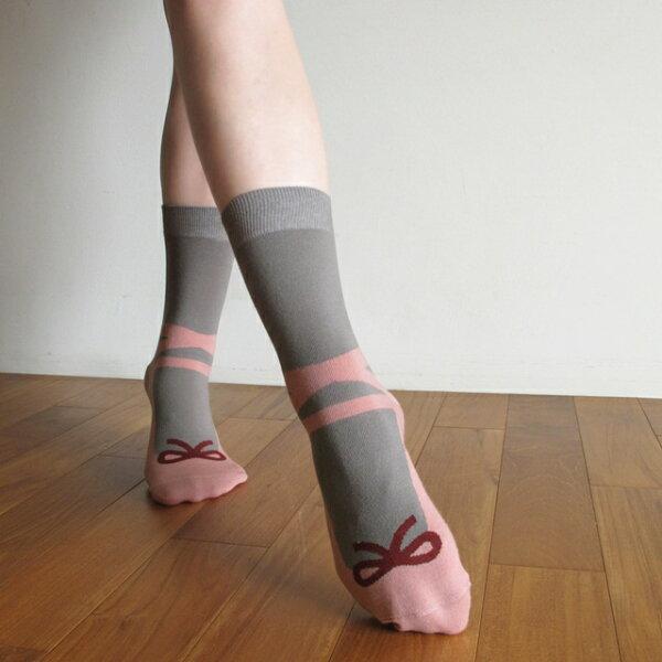 我是芭蕾名伶 蝴蝶結禮物棉襪/蓮藕粉 MIT社頭襪子