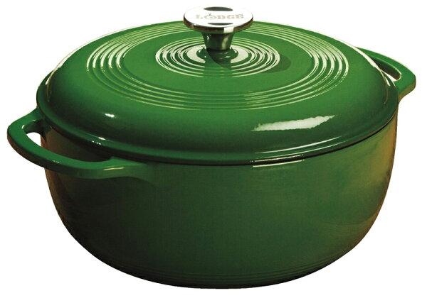 【鄉野情戶外專業】 Lodge |美國| 10吋 琺瑯鍋 鑄鐵琺瑯鍋 湯鍋 燉鍋 (免開鍋免養鍋) -綠 _EC6D53