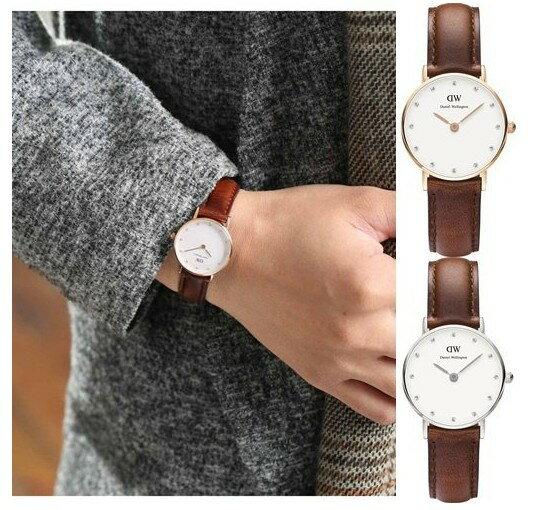 瑞典正品代購 Daniel Wellington 0920DW 銀 玫瑰金  真皮 錶帶 男女錶 手錶腕錶 26MM 1