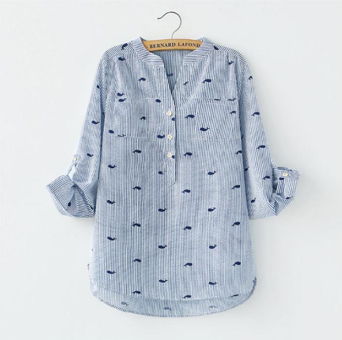 襯衫 DEER 小鯨魚印花襯衫《2色》 0