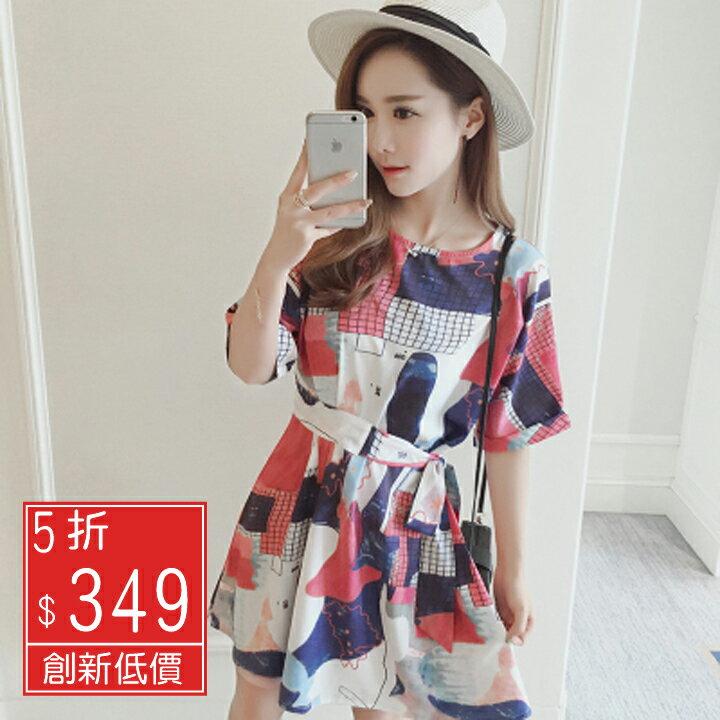 Missyoyo  收腰 抽象印花蝙蝠袖洋裝~J032032~~
