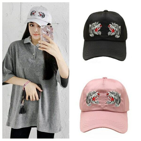 韓版刺繡雙虎頭純白鴨舌帽
