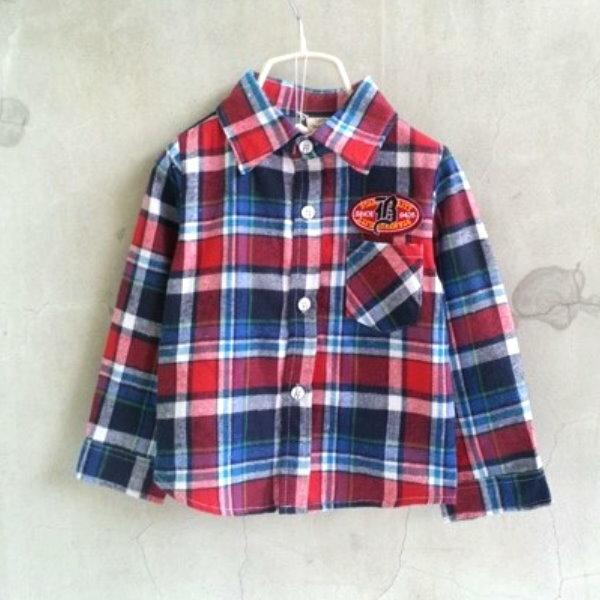 ~班比納 ~左胸425徽章口袋紅藍格紋襯衫~藍~BO150303015~ ~  好康折扣