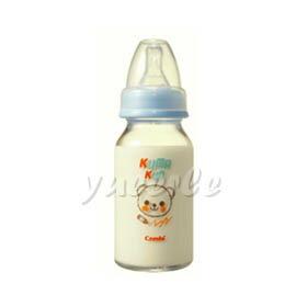 【悅兒樂婦幼用品舘】Combi 康貝 Kuma Kun 標準口耐熱玻璃哺乳瓶120ml (藍) ~新品上市~