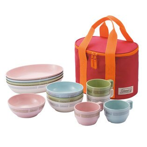 【露營趣】中和 附手電筒 Coleman CM-26766 晶格餐盤組/彩色 餐具組 碗 盤子 杯子