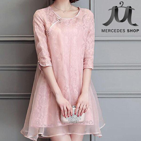 [人氣暢銷] 改良式旗袍復古蕾絲歐根紗大擺洋裝 (M-2XL) - 梅西蒂絲