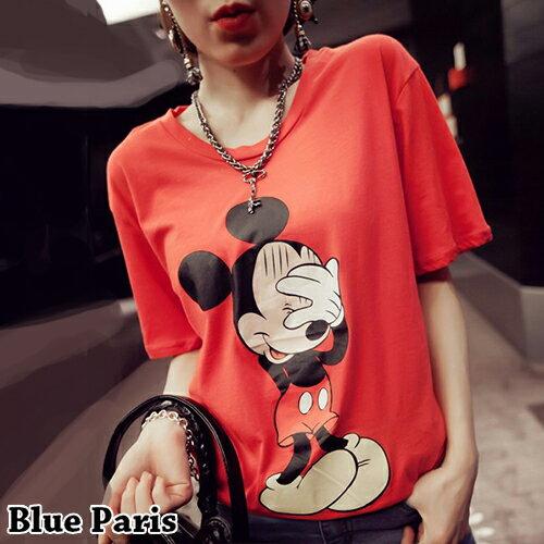 上衣 - 害羞尷尬掩面可愛鼠短袖T恤【29084】藍色巴黎《2色》現貨+預購