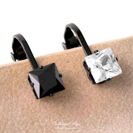 夾式耳環 鋼製6MM簡約方型奧地利水鑽黑色耳環 免耳洞 抗過敏.氧化 柒彩年代【ND363】單支售價 - 限時優惠好康折扣
