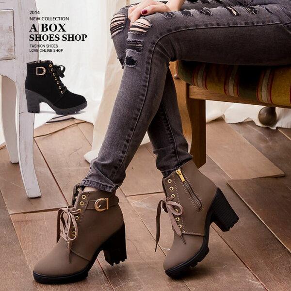 格子舖*【KS1882】韓系雜誌時尚 美型豹紋內裡 綁帶設計粗跟短靴 機車靴 2色