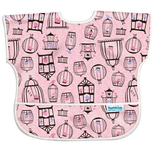 美國【Bumkins】兒童短袖防水圍兜 -粉紅小鳥 BKU-200 (1-3歲) - 限時優惠好康折扣
