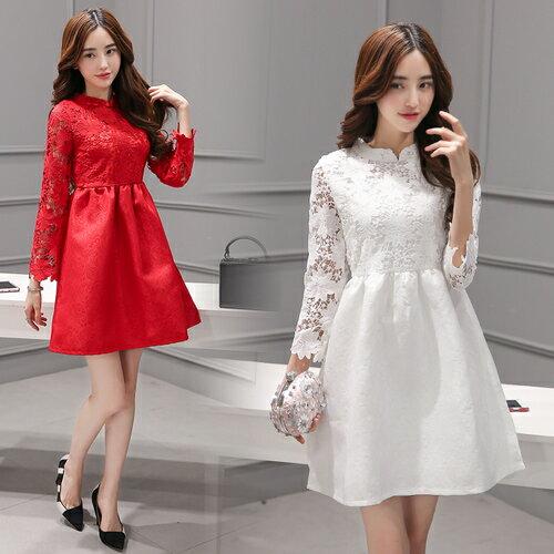 SaSa 復古改良旗袍領蕾絲縷空提花長袖洋裝