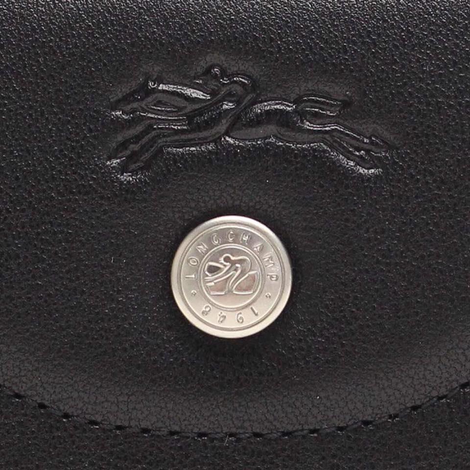 【LONGCHAMP】LE PLIAGE CUIR 系列 拉鍊皮夾 - 黑色 3