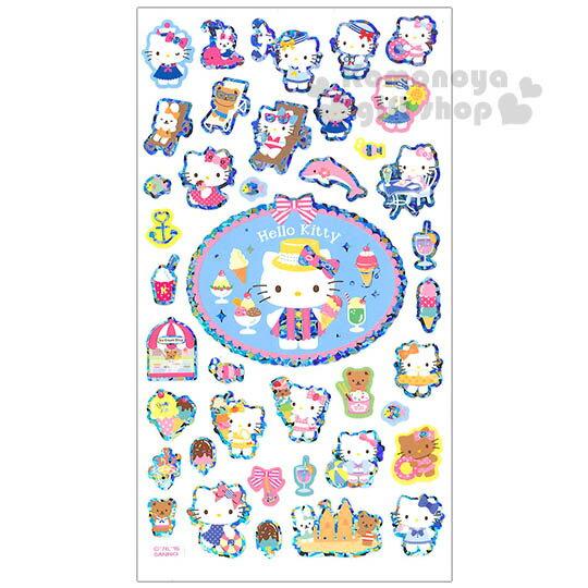 〔小禮堂〕Hello Kitty 日製造型貼紙《冰品.泳裝.銀邊》夏季系列