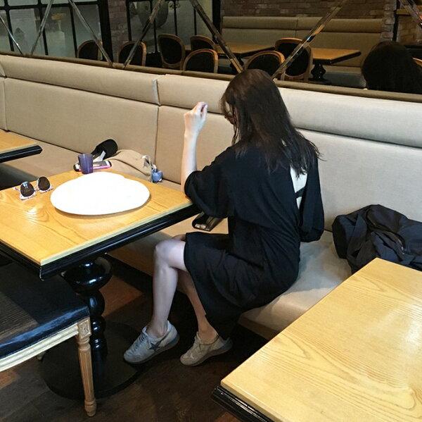PS Mall 時尚百搭休閒後背心機三角鏤空露背中袖T恤中長裙連身裙 洋裝【T2256】