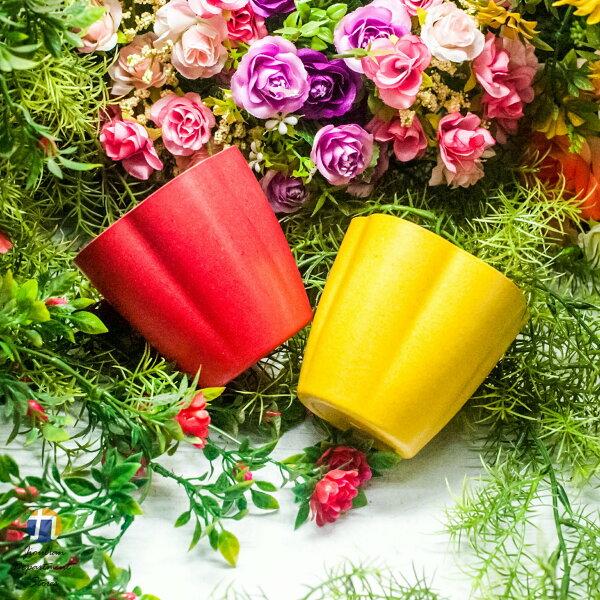 {九聯百貨} 2色 馬卡龍 家飾籃 造型花盆 (花朵造型) 桌上盆 塑膠花盆 有底洞 2色