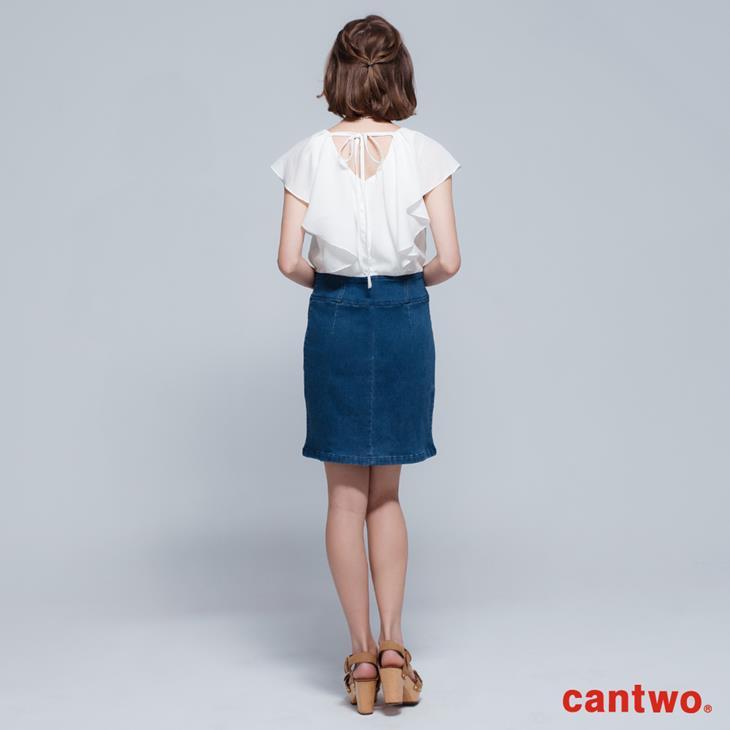 cantwo雪紡荷葉丹寧洋裝(共二色) 3