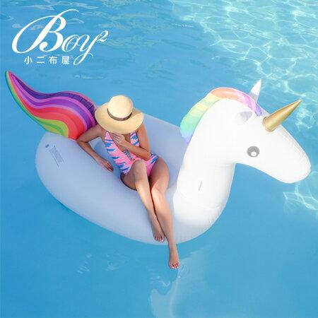 ☆BOY-2☆【NQYJ001】彩虹獨角獸造型泳圈水上浮床(附贈手動打氣筒)