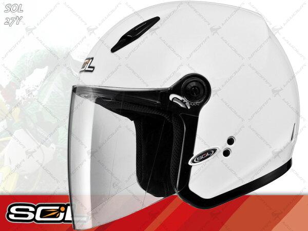 SOL安全帽|27Y 素 白【小頭圍.女生】 半罩帽 『耀瑪騎士生活機車部品』
