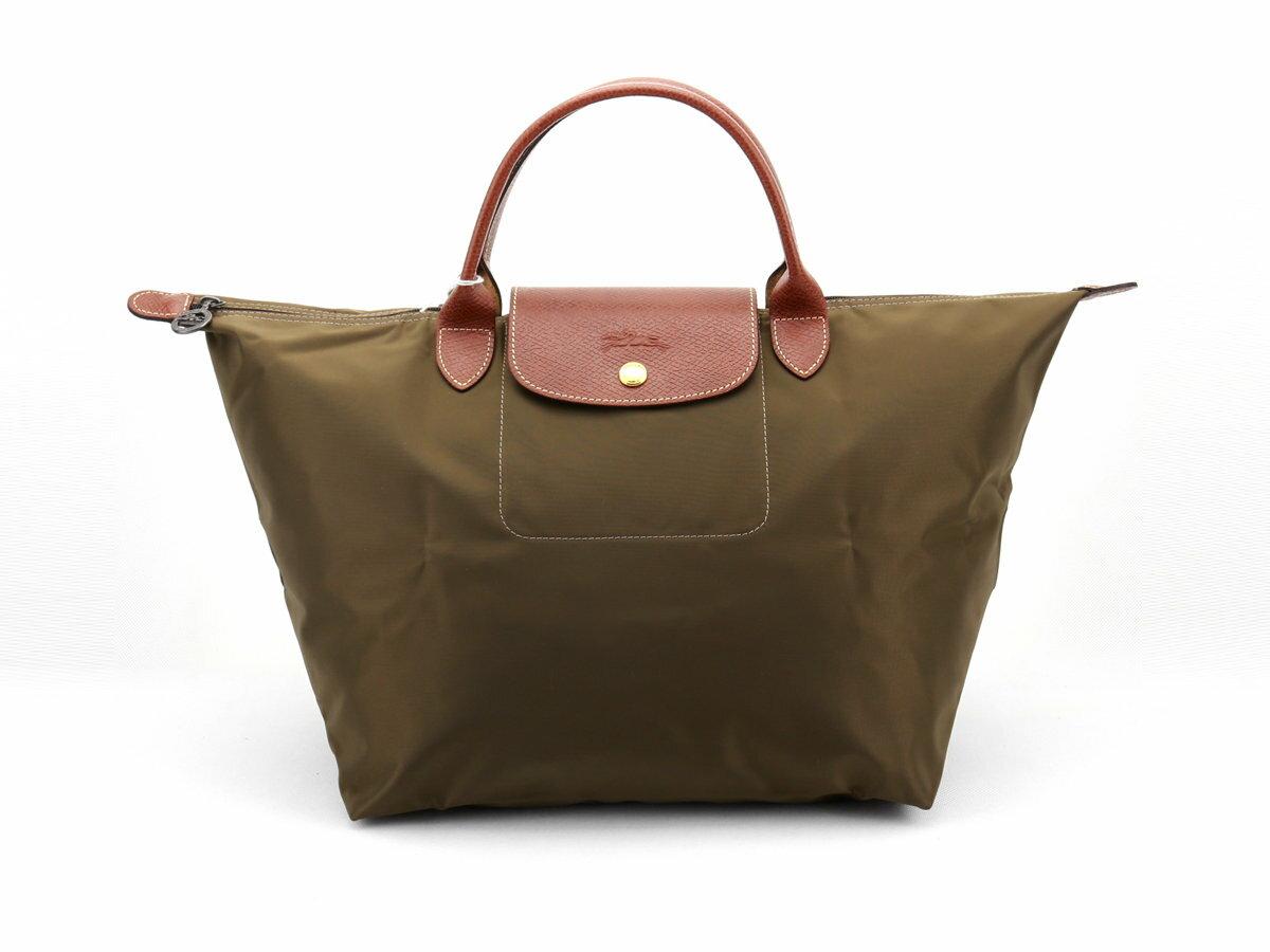 [1623-M號] 國外Outlet代購正品 法國巴黎 Longchamp 短柄 購物袋防水尼龍手提肩背水餃包 枯葉草 0