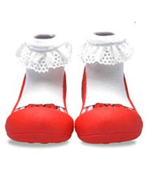 【本月特價$599】韓國【Attipas】快樂腳襪型學步鞋-芭蕾紅 - 限時優惠好康折扣