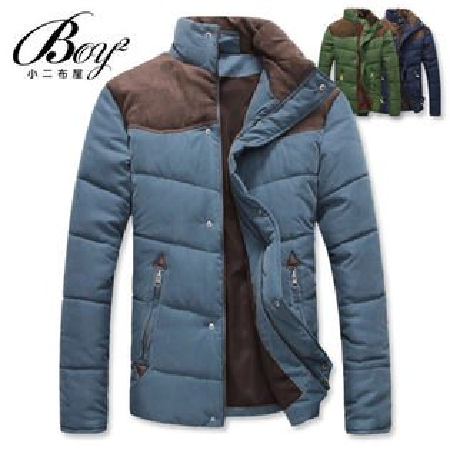 ☆BOY-2☆【NZB08】立領鋪棉外套禦寒拼接麂皮超厚保暖
