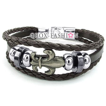 《 QBOX 》FASHION 飾品【W10023460】精緻個性克羅心十字合金環扣皮革手鍊/手環(黑色)