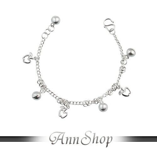 AnnShop小安的店~蘋果球球純銀小孩手鍊‧925純銀~ 款寶貝彌月禮珠寶銀飾 b914