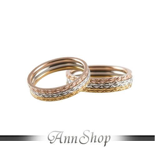 AnnShop【三色三環白鋼戒指.316L鋼】情人禮物r3012