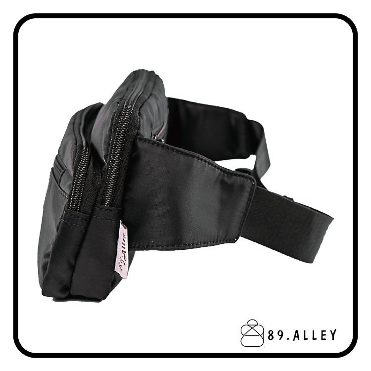 腰包 單肩包 女包男包 黑色系防水包 輕量尼龍雙層情侶防搶包 89.Alley 2