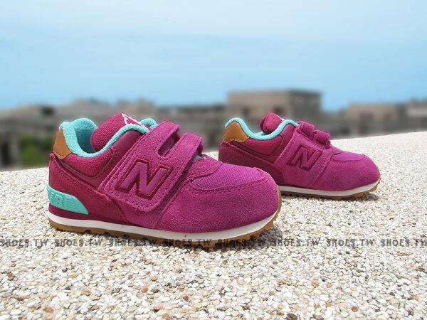 Shoestw【KV574NFI】NEW BALANCE 574 膠底 防滑 小童鞋 運動鞋 紫羅蘭 綠