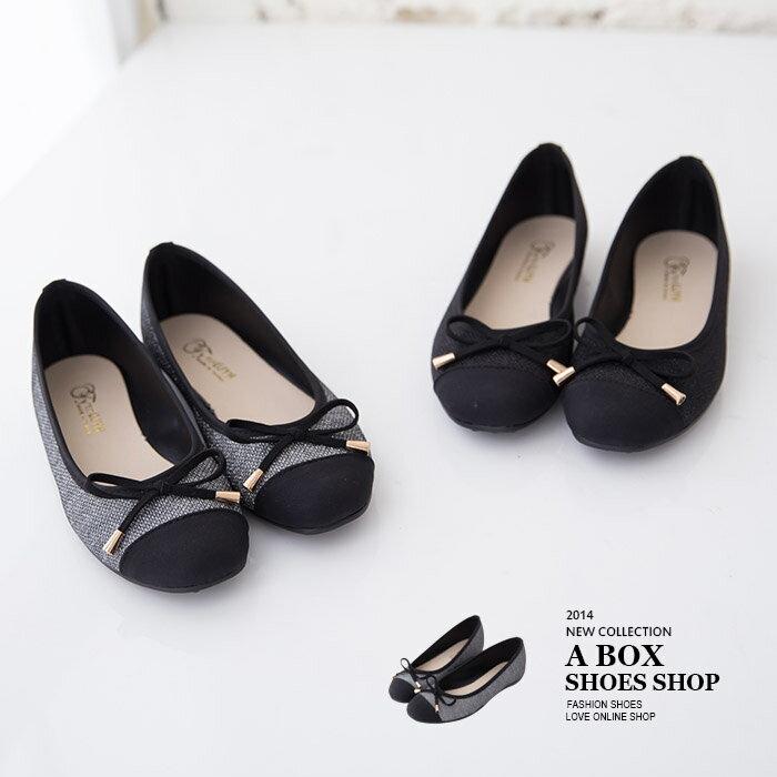 格子舖*【AW4301】MIT台灣製 嚴選金蔥蝴蝶結裝飾 圓頭平底包鞋 便鞋娃娃鞋 2色 0