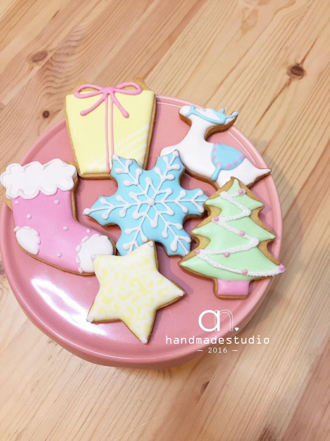 {聖誕限定}繽紛馬卡龍色聖誕糖霜餅乾6件組│聖誕甜點推薦 by anStudio 1