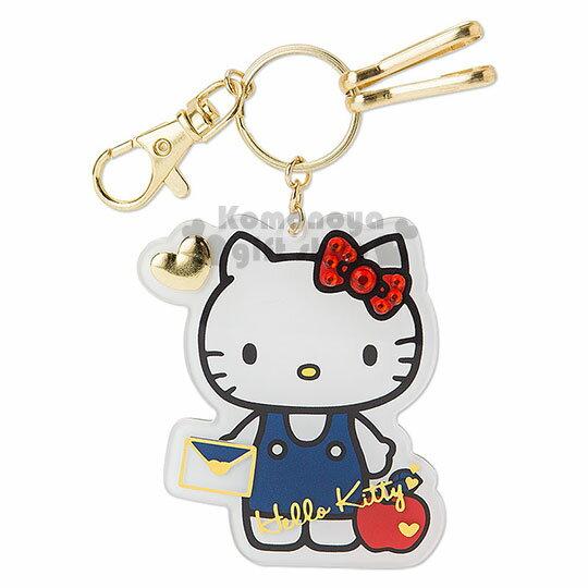 〔小禮堂〕Hello Kitty 鑰匙圈~白.站姿.拿信封.水鑽蝴蝶結.燙金.金色愛心~