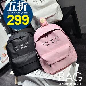 B.A.G*現貨秒發*【BT-HAY】韓版英文字後背包(現+預)-4色