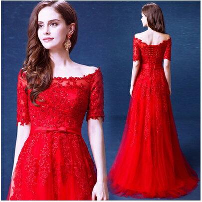天使嫁衣【AE9082】紅色蕾絲一字領中袖網紗晚禮服˙預購訂製款