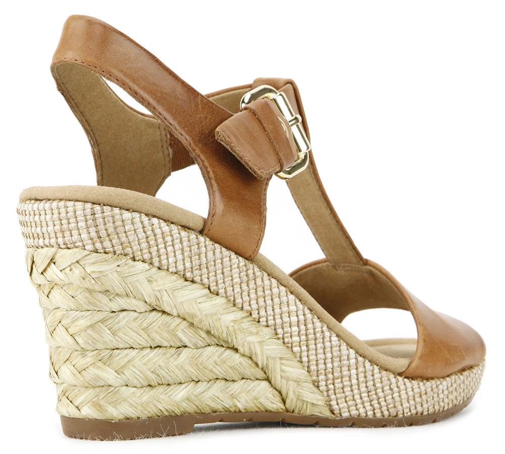Gabor 修身輕躍 時尚金屬扣飾楔型涼鞋 濃咖啡 3