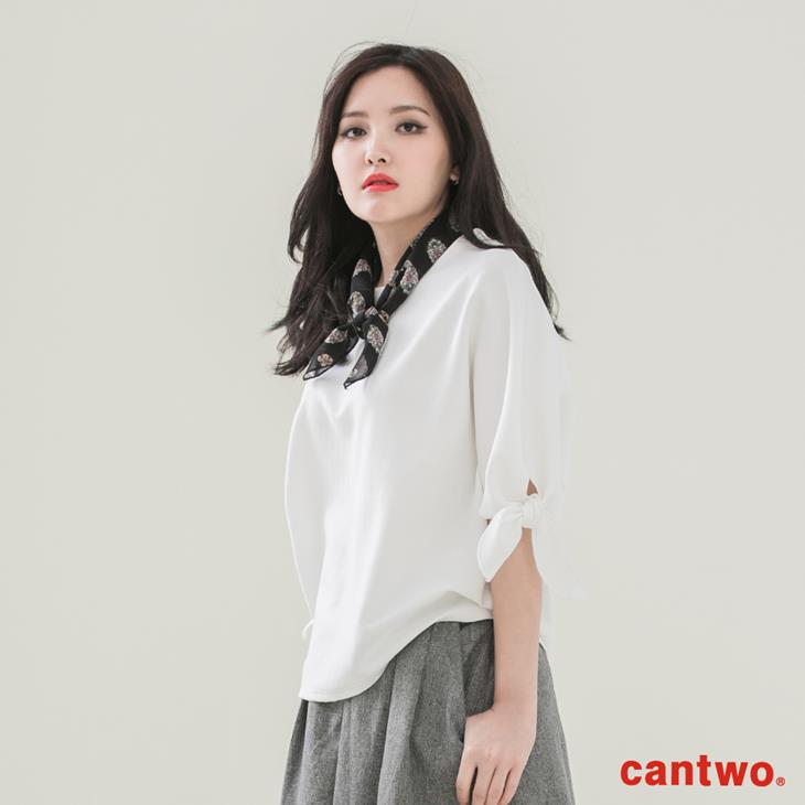 cantwo簡約綁結五分袖上衣(共二色) 0