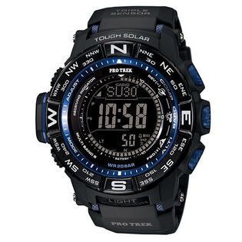 CASIO PRO TREK 登山錶 PRW-3500Y-1三大感應器電波專業登山腕錶/黑藍53.4mm