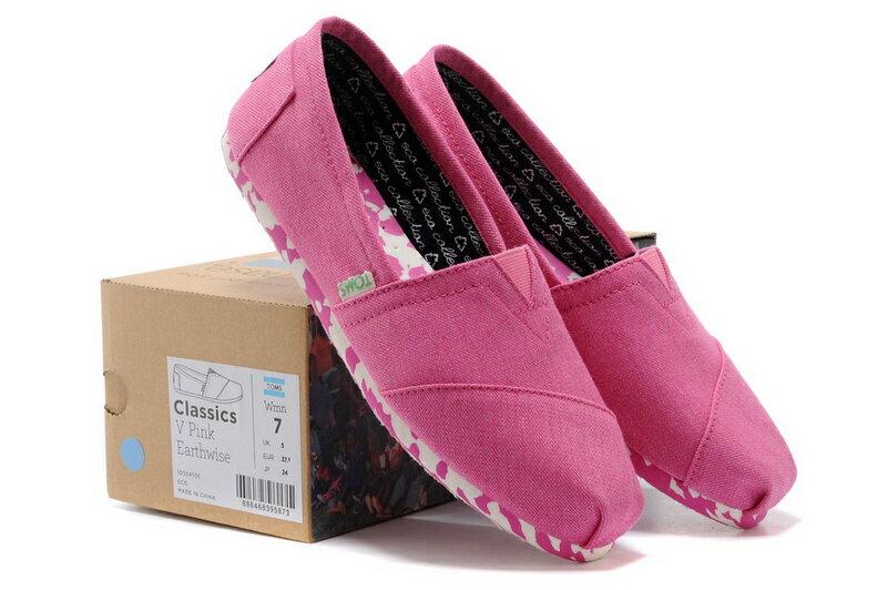 【TOMS】粉紅色花底帆布休閒鞋  Pink Earthwise Women's Vegan Classics 6