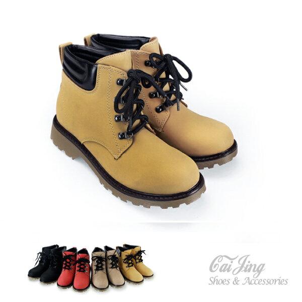 馬丁靴_時尚率性質感純色高統靴_棕/褐/黑/紅_采靚精品鞋飾_MIT 台灣製