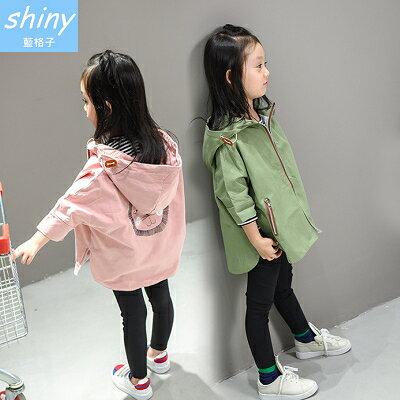 【R0184】shiny藍格子-嬰幼館.女童春秋款獅子斗篷連帽風衣外套