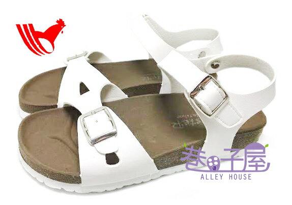 【巷子屋】ROOSTER公雞 女款經典勃肯單釦涼拖鞋 [2337] 白色 MIT台灣製造 超值價$198