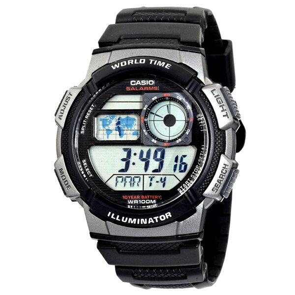 CASIO 卡西歐 AE-1000W 日系世界地圖多時區顯示運動腕錶