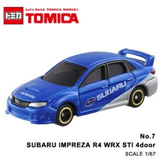 日貨 TOMICA No.7 SUBARU IMPREZA WRX STI 4door GROUP R4 速霸陸 硬皮鯊 真車系列 汽車模型 多美小汽車【N201321】