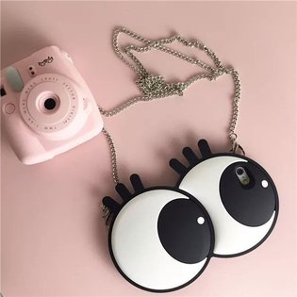 大眼睛 眼睛 睫毛 手機殼 手機套 保護殼 iPhone 6 plus 矽膠軟殼 鏈條背帶 鍊條包 可愛誇張 韓國