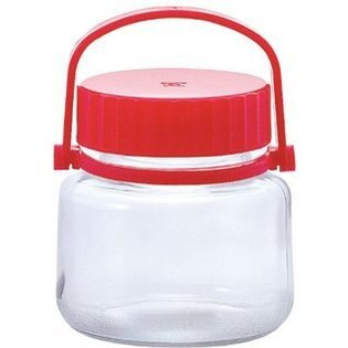 日本《ADERIA》石塚哨子1公升抗菌玻璃醃製罐/玻璃罐-1L 紅色 注水蓋 可拆提把 梅酒 果醋 泡菜 水果酒
