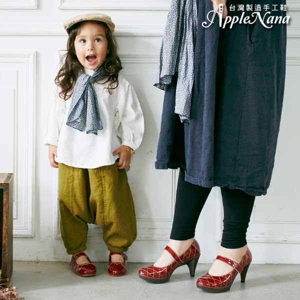 AppleNana。親子鞋。小公主全真皮菱格紋車線小紅鞋【QTBC70451080】蘋果奈奈 0