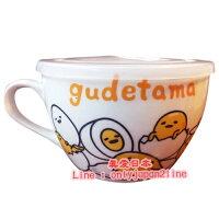 【真愛日本】16093000039微波湯杯附蓋-蛋黃哥  三麗鷗家族 蛋黃哥 Gudetama 湯杯 湯碗 餐具