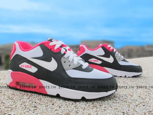 Shoestw【833340-001】NIKE AIR MAX 90 MESH (GS) 灰桃紅 氣墊 大童鞋 女生